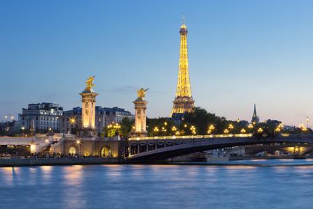 paris night: Eiffel Tower and Pont Alexandre III  by night, Paris.