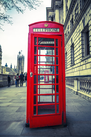 red box: Red phone box, London. Special photographic processing.