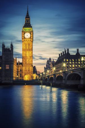 big ben tower: Famous Big Ben tower in London at sunset, UK. Editorial