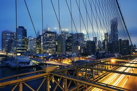 night traffic: Brooklyn Bridge at night with car traffic