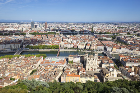 aerial view: Horizontal view of Lyon from the top of Notre Dame de Fourviere