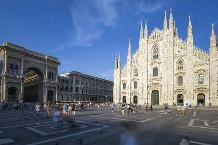 piazza: Milan Cathedral, Duomo and Vittorio Emanuele II Gallery at Piazza del Duomo. Lombardy, Italy