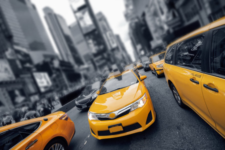 Yellow Cab at Times Square in New York City Editorial
