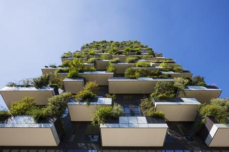 verticales: MILAN, ITALIA 30 de agosto de 2015: Rascacielos Bosque Vertical. La particularidad de este edificio es la presencia de más de 900 especies de árboles.