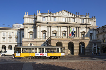 tramway: MILAN, ITALY - AUGUST 29, 2015: Tramway in front of Teatro alla Scala theatre in Milan Italy.