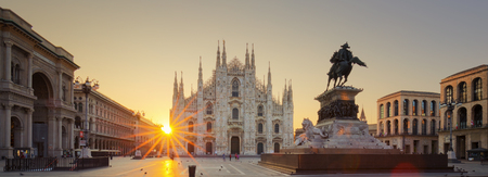 panorama: Duomo at sunrise, Milan, Europe. Stock Photo