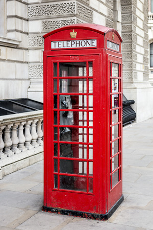 red box: Famous red phone box, London. Special photographic processing.