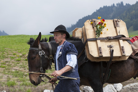 herdsman: CHARMEY, SWITZERLAND - SEPTEMBER 26, 2015: herdsman on the annual transhumance at Charmey on the Swiss alps. Editorial