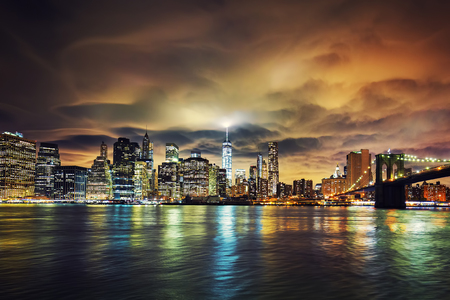 city lights: View of Manhattan at sunset, New York City. Stock Photo