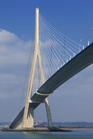 rope bridge: Pont de Normandy over river Seine, France
