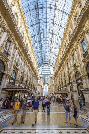 decorative balconies: MILAN, ITALY - AUGUST 28 : View of Galleria Vittorio Emanuele II in Milan on August 28, 2015. Built in 1875 this gallery is one of the most popular shopping areas in Milan.