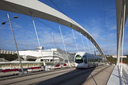barre: LYON, FRANCE, october 8, 2015 : Musee des Confluences and Raymond Barre bridge with tramway at Lyon, France, Europe.