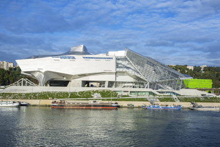 """LYON, FRANCE, october 8, 2015 : """"Musee des Confluences"""" is a science and anthropology museum which opened on 20 December 2014 at the confluence of Rhone and the Saone rivers."""