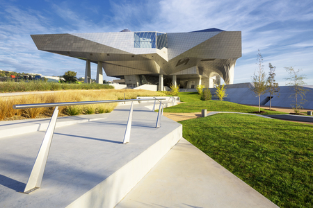 confluence: LYON, FRANCE, OCTOBER 8, 2015 : Musee des Confluences is a science and anthropology museum which opened on 20 December 2014 at the confluence of Rhone and the Saone rivers. Editorial