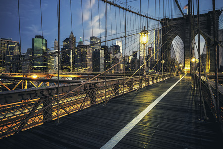 brooklyn: Brooklyn Bridge by night, New York, USA. Stock Photo