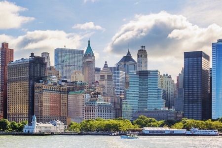 church building: New York City with Manhattan Skyline over Hudson River