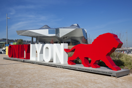 anthropology: LYON, FRANCE, November 5, 2015 : OnlyLyon, the city branding word in front of the Musee des Confluences, a science and anthropology museum at the confluence of Rhone and the Saone rivers.