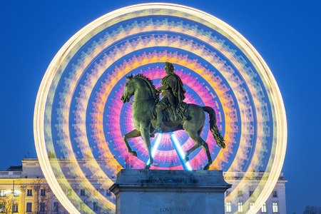 louis: Statue of Louis XIV and wheel by night, Lyon, France