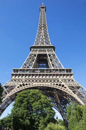 towers: Eiffel Tower in blue sky, Paris, France.