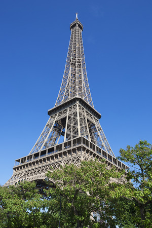 romance sky: Eiffel Tower in summer, Paris, France. Stock Photo