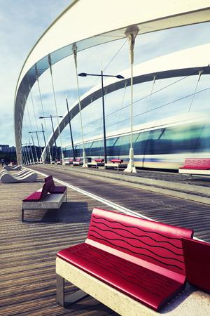 tramway: Bridge with tramway at Lyon, France, Europe. Editorial