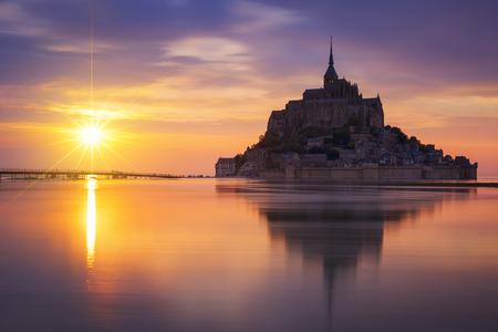 MONT SAINT MICHEL, FRANCE, JUNE 4.View of famous Mont-Saint-Michel at sunset, taken on 4 June 2015, France, Europe.