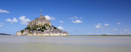 mount saint michael: Panoramic view of Mont-Saint-Michel with blue sky, France. Editorial