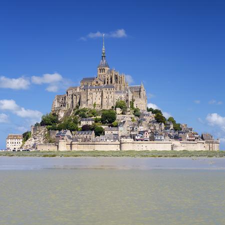 michel: Mont-Saint-Michel with blue sky, France.
