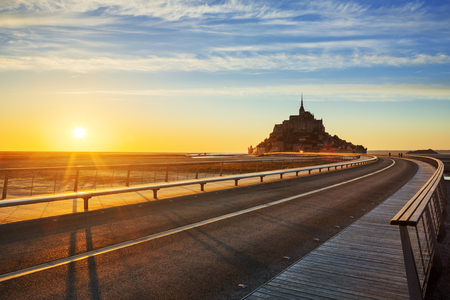 mont saint michel: Road to Mont Saint Michel at sunset, Normandy. France.