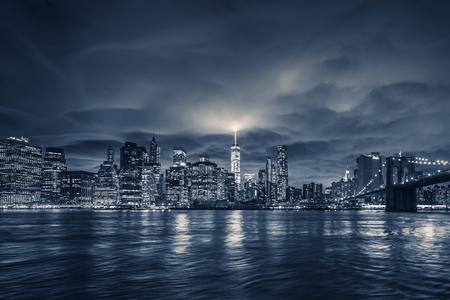 View of Manhattan at night, New York City.