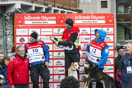 mushing: TERMIGNON, VANOISE, FRANCE - JANUARY 20 2016 - Podium Remy COSTE the winner of the GRANDE ODYSSEE the hardest mushers race, the 2nd Jimmy PETTERSSON and 3th named Jean-Philippe PONTHIER, Vanoise, Alps
