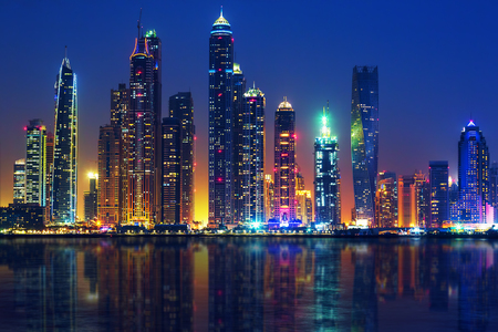 View of Dubai by night, UAE Banco de Imagens
