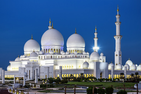 sheikh zayed mosque: View of famous Abu Dhabi Sheikh Zayed Mosque by night, UAE.