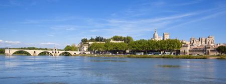 avignon: Panoramic view of Avignon Bridge with Popes Palace, Pont Saint-Benezet, Provence, France Editorial