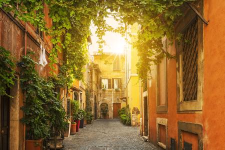 Oude straat in Trastevere in Rome, Italië Stockfoto