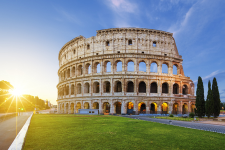 View of Colosseum in Rome at sunrise, Italy, Europe. Imagens