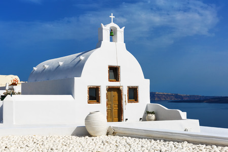 white washed: Small traditional Greek Orthodox church in Oia, Santorini