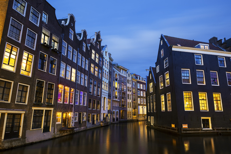 amsterdam canal: Amsterdam canal at night, Netherlands Stock Photo