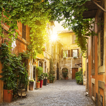 View of Old street in Trastevere in Rome, Italy