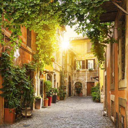 Widok na Stare ulicy w dzielnicy Trastevere w Rzymie Zdjęcie Seryjne