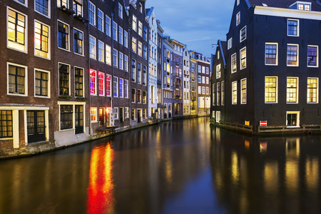 View of famous amsterdam canal at night, Netherlands