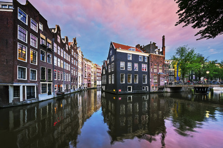 amsterdam canal: Amsterdam canal at sunset, Netherlands Stock Photo
