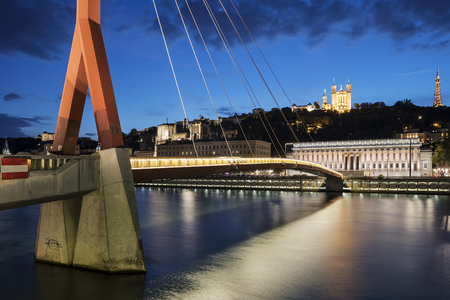 View of Saone river by night, Lyon, France.