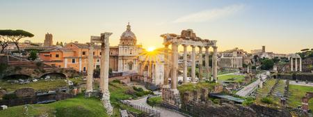 Forum Romanum. Bild von Roman Forum in Rom, Italien während des Sonnenaufgangs.