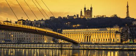 View of Saone river at Lyon at sunset, France