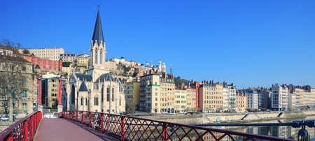Famous view of Saone river and red footbridge in Lyon city, France Stock Photo
