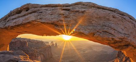 Famous sunrise at Mesa Arch in Canyonlands National Park near Moab, Utah, USA