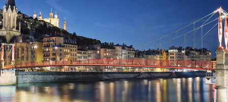 Famous view of river saone at night, Lyon, France Stock Photo
