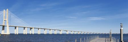 view of the big Vasco da Gama bridge in Lisbon