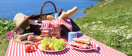 basketry: Picnic in french alpine mountains with lake Stock Photo